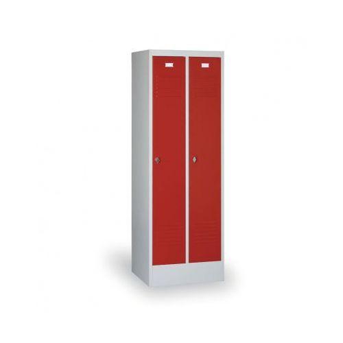 Szafki do przebieralni, Szafka ubraniowa Ekonomik, czerwone drzwi, zamek cylindryczny