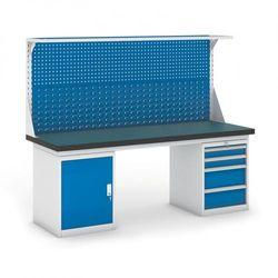 Stół warsztatowy GB z szafką, panelem i kontenerem szufladowym, 2100 mm