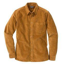 Koszula sztruksowa ze stretchem Slim Fit, długi rękaw bonprix koniakowy