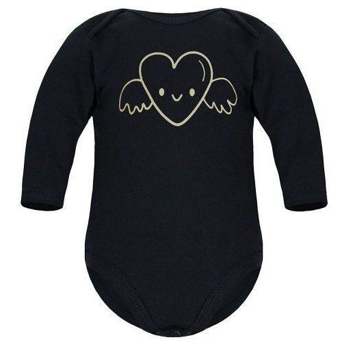 Body niemowlęce, Dziecięce body długi rękaw czarne - Serce