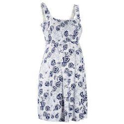 Sukienka ciążowa shirtowa bonprix biało-kobaltowy w kwiaty