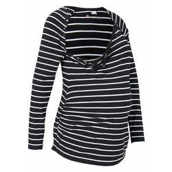Shirt ciążowy i do karmienia piersią, z napami bonprix czarno-biały w paski
