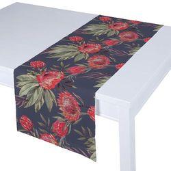 Dekoria Bieżnik prostokątny, czerwone kwiaty na czarnym tle, 40 × 130 cm, New Art