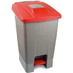Kosz na śmieci 110l otwierany nogą z pokrywą czerwoną