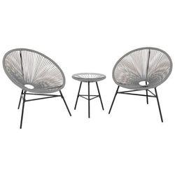Meble rattanowe stół z 2 krzesłami jasnoszare ACAPULCO