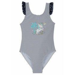 Kostium kąpielowy dziewczęcy bonprix niebiesko-biały w paski