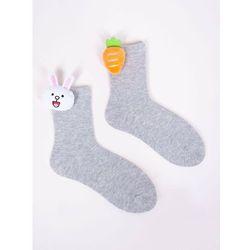 Skarpety dziewczęce szare z aplikacją 3D króliczek marchewka 23-26