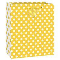 Opakowania prezentowe, Torebka prezentowa żółta w białe kropeczki 18x23 cm - 1 szt.
