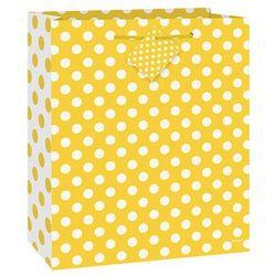 Torebka prezentowa żółta w białe kropeczki 18x23 cm - 1 szt.