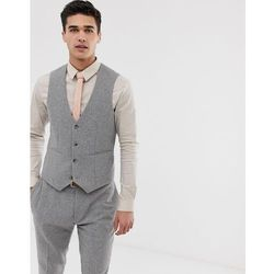 ASOS DESIGN wedding super skinny suit waistcoat in micro grey houndstooth - Grey