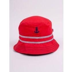 Czapka letnia kapelusz czerwona z kotwicą 50-52