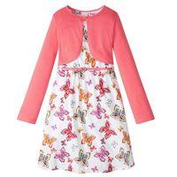 Zestawy odzieżowe dziecięce, Sukienka dziewczęca + pasek + bolerko (3 części) bonprix biało-jasnoróżowy wzorzysty