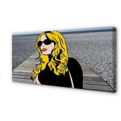 Obrazy na płótnie Kobieta czarne okulary czerwone usta