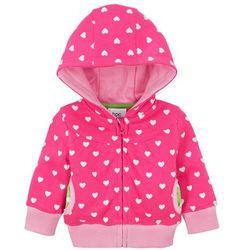 Bluza niemowlęca rozpinana z kapturem, bawełna organiczna bonprix ciemnoróżowy z nadrukiem
