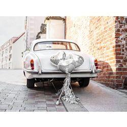 Zestaw dekoracji samochodowych srebrne Serca - 5 elem.