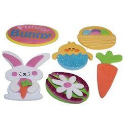 Naklejki z pianki jajko, kurczaczek, królik, koszyczek na Wielkanoc - 6 szt