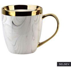 SELSEY Kubek do herbaty Scyler 480 ml marmurowo-złoty