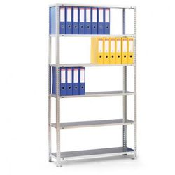 Regał na segregatory COMPACT, szary, 7 półek, 2200x1000x300 mm, podstawowy