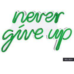 SELSEY Neon na ścianę Letely z napisem Never Give Up zielony
