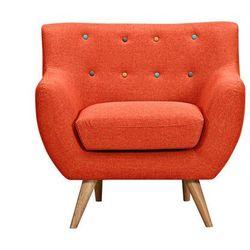 Fotel z tkaniny SERTI - Krwisto-pomarańczowy z dekoracyjnymi wielokolorowymi guzikami