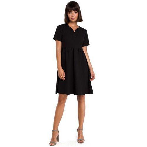 Suknie i sukienki, Czarna Rozkloszowana Sukienka Mini Odcinana pod Biustem