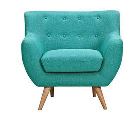Fotel z tkaniny SERTI - Kolor turkusowy z dopasowanymi dekoracyjnymi guzikami