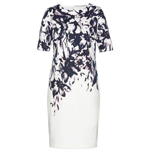 Suknie i sukienki, Sukienka bonprix biel wełny z kolorowym nadrukiem