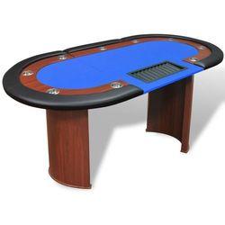 vidaXL Stół do pokera dla 10 graczy z tacą na żetony, niebieski Darmowa wysyłka i zwroty
