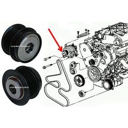 Oryginalne MOPAR sprzęgło jednokierunkowe alternatora Chrysler Voyager Town&Country 3,3 / 3,8 V6