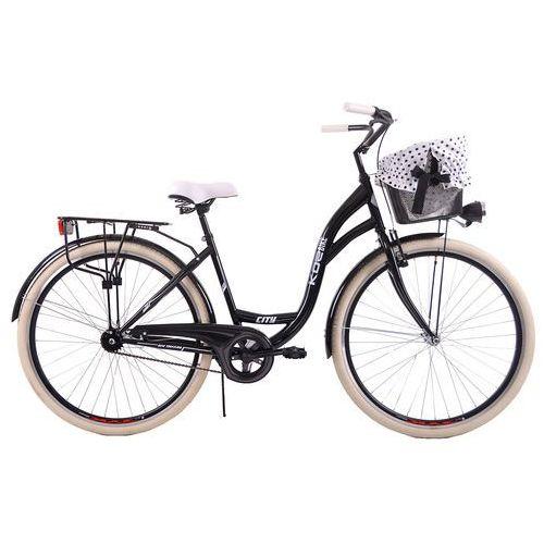 Rowery miejskie i rekreacyjne, KOZBIKE (K14) Kozbike_28_CZARNY_1B_opony_białe+kosz_met_zawieszany+wkładka_czarna w białe kwiaty