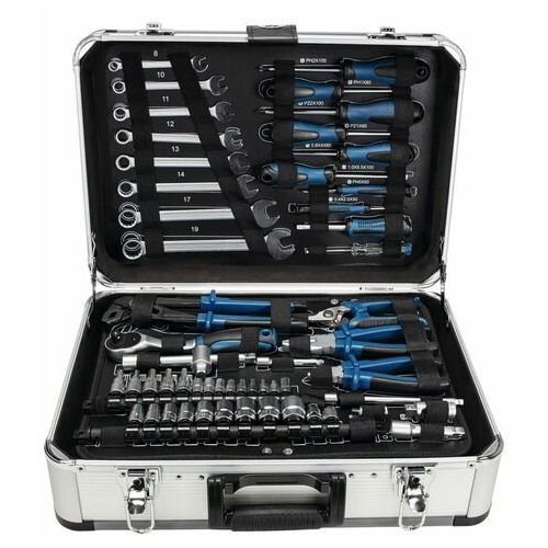 Walizki na narzędzia, Scheppach walizka aluminiowa z narzędziami TB 150, 101 części