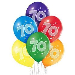 """Balony pastelowe z nadrukiem """"70"""" - 27 cm - 6 szt."""