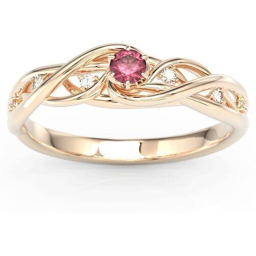 Pierścionki i obrączki, Pierścionek z różowego złota z rubinem i brylantami BP-75P - Różowe \ Rubin