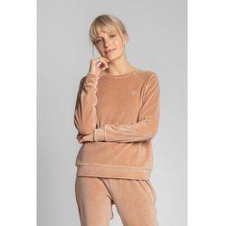 LA011 Welurowa bluza z reglanowymi rękawami - beżowa