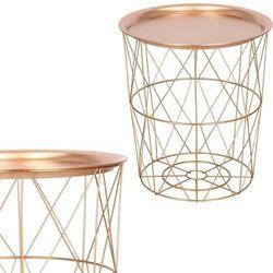 Stolik kawowy loft 40 cm kosz metalowy z tacą industrialny różowe złoto