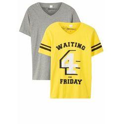T-shirt chłopięcy (2 szt.), bawełna organiczna bonprix jasnoszary melanż - limonka