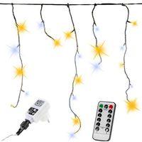 Ozdoby świąteczne, KURTYNA 600 LED SOPLE LAMPKI NA DOM CIEPŁO-ZIMNE + PILOT - Ciepło-Zimne / 600 LED