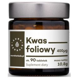 AURA HERBALS 10,8g Kwas foliowy Suplement diety w tabletkach (90 porcji)