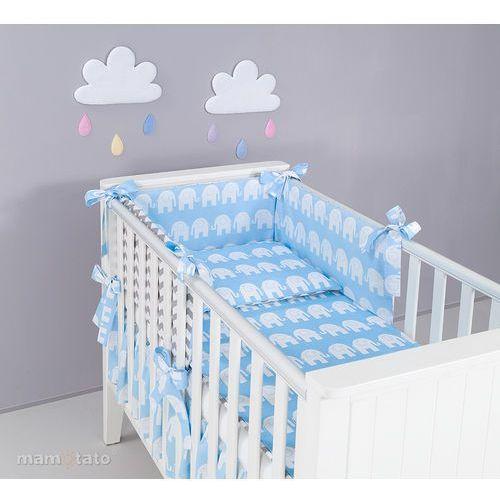 Zabezpieczenia do łóżeczek, MAMO-TATO Ochraniacz rozbieralny do łóżeczka 60x120 Słoń niebieski / zygzak szary