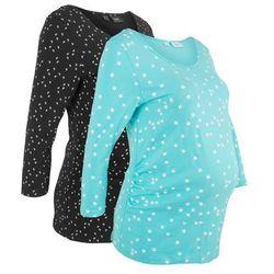 Shirt ciążowy z nadrukiem (2 szt.), bawełna organiczna bonprix czarny z nadrukiem + morski z nadrukiem