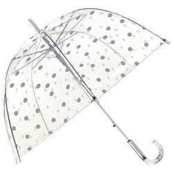 Długi parasol przezroczysty kopuła, srebrne grochy - srebrne grochy marki Smati