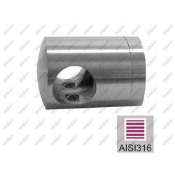 Uchwyt przelotowy złączny AISI316, 40x40x2/d16mm