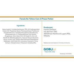 Fanola no yellow care 2-phase potion wegańska odżywka do włosów blond i rozjaśnianych 150ml