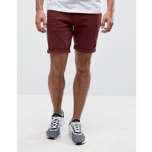 Pozostała odzież męska, ASOS Denim Shorts In Skinny Burgundy With Abrasions - Red