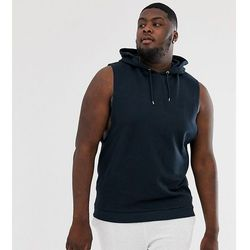 ASOS DESIGN Plus relaxed sleeveless hoodie with dropped armhole in navy - Navy
