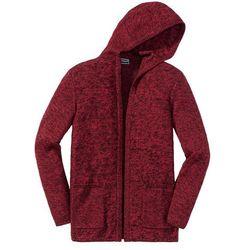 Długi sweter bez zapięcia, z kapturem Slim Fit bonprix czarno-ciemnoczerwony