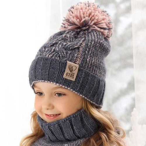 Zestawy dodatków dla dzieci, Ciepły komplet czapka + komin ZIMA roz. 52-56