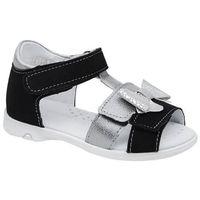Sandały dziecięce, Sandałki dla dziewczynki KORNECKI 6309 Czarne Srebrne Brokat