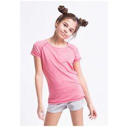 Koszulka sportowa dla dużych dziewcząt JTSD400z - róż melanż
