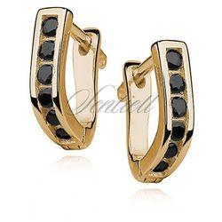 Srebrne kolczyki pr.925 złocone - czarna cyrkonia - Czarna \ Żółte złoto